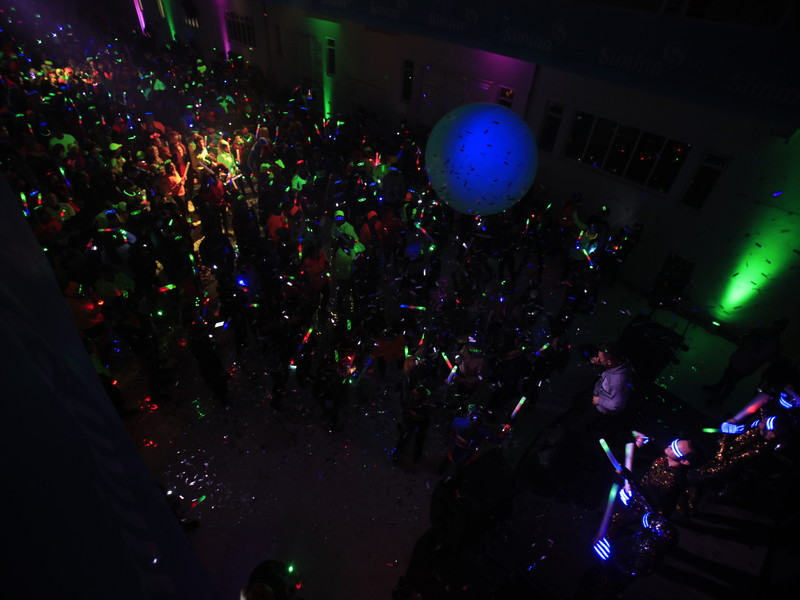 Participants making a lights show at the art museum